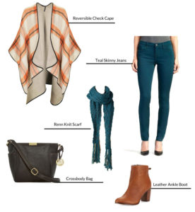 Plaid cape green jeans scarf and cognac boots