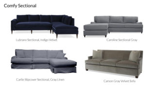 Family Friendly Blue and Gray Sectionals