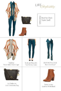 Fall outfit idea poncho and jeans