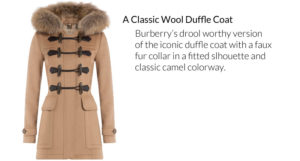Burberry Wool Duffle Coat in camel from Burberry Brit with a tonal fur trim around the hood. Leather detailed toggles and a checked hood