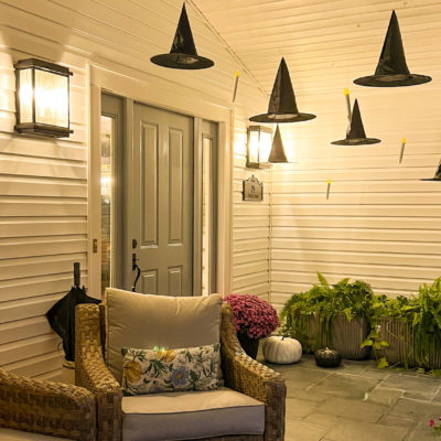 Halloween Porch Décor – Witches Hats, Floating Candles and Skeletons